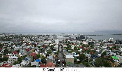 Reykjavik, Iceland - Aerial view of downtown in Reykjavik,...
