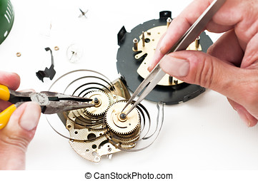 Clock repair - Clock disassembled for repair and calibration