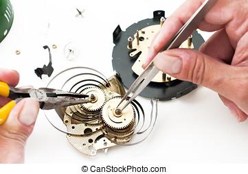 Clock repair - Clock disassembled for repair and calibration