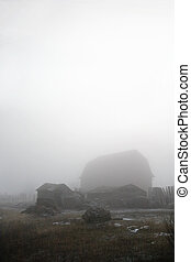 Abandoned Farmyard - Abandoned farmyard engulfed in fog.