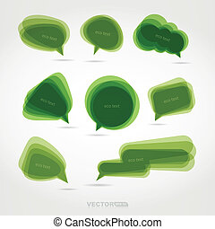 Set of eight green chat bubbles - vector set