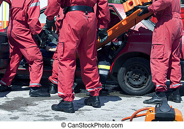 rescue operation  - Rescue operation after a car crash