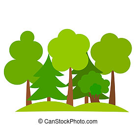 Forest - Various trees in forest. Vector illustration