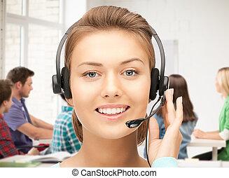 helpline operator with headphones - friendly female helpline...