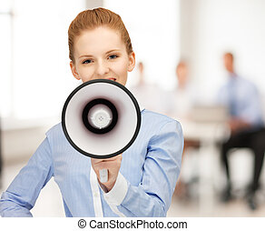 businesswoman with megaphone in office