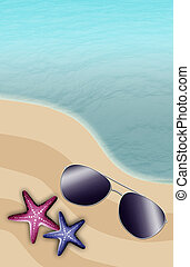 illustration of the beach with starfish