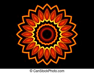 Fiery flower on black background