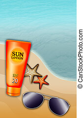beach scene with solar lotion - illustration of the beach...