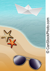 beach scene - illustration of the beach with starfish