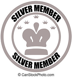 Silver member - Stamp with text silver member inside, vector...