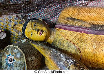 Buddha statue in Dambulla, Sri Lanka - Buddha statue in...