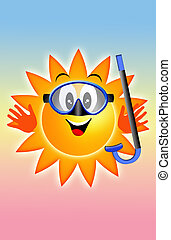 Sun with diving mask and snorkel - illustration of a Sun...