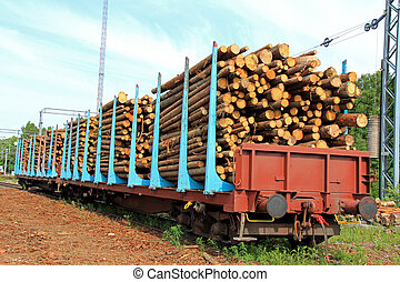 Wood in Railcars - Wooden logs in rail cars at a railway...