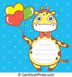 cute giraffe of scrapbook background