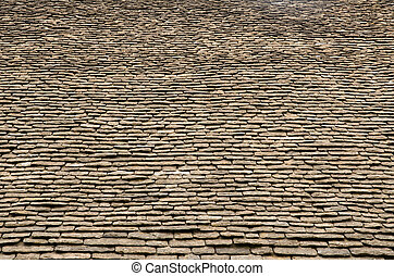 Stone roof tiles - Old stone roof tiles, Tithe Barn,...
