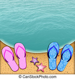 Flip-flop on the beach for couple - illustration of a...