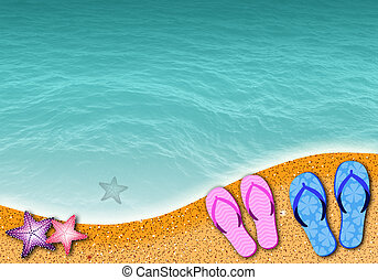 Flip-flop on the beach - illustration of a Flip-flop on the...