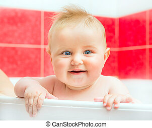 baby in bath - beautiful smiling baby in bath