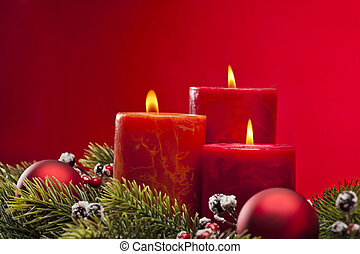 Red advent wreath with candles - Red advent flower...