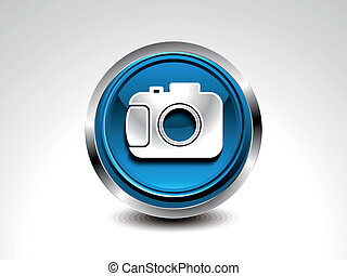 abstract blue glossy camera button vector illustration