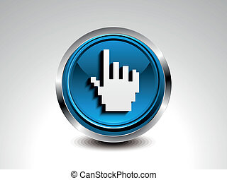 abstract blue glossy hand cursor button vector illustration