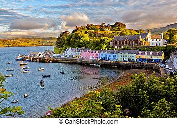 vista, Portree, Isla, Skye, Escocia