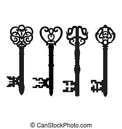 Old key collection - Old vintage key collection isolated on...