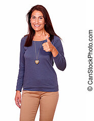 Charming senior woman showing you ok sign - Portrait of a...