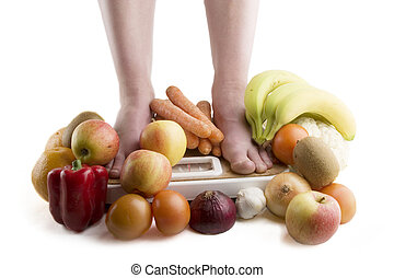 Diet - A pair of female legs standing on a scale surrounded...