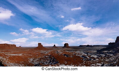 monument valley blue sky timelapse - monument valley with a...