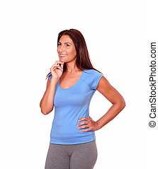 Pensive sporty senior woman in gym clothing - Portrait of a...