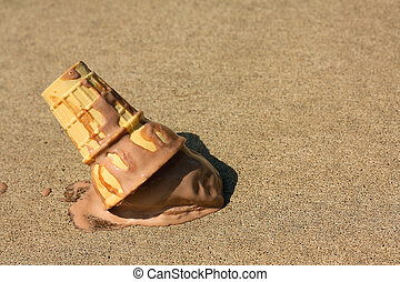 Dropped Ice Cream Cone - A melty chocolate ice cream cone...