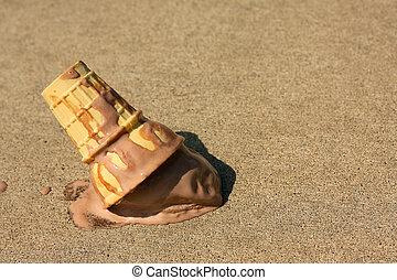 Dropped Ice Cream Cone - A melty chocolate ice cream cone...