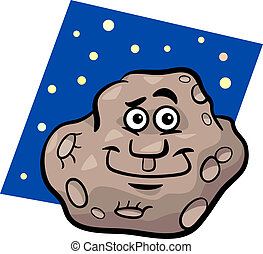 funny asteroid cartoon illustration - Cartoon Illustration...