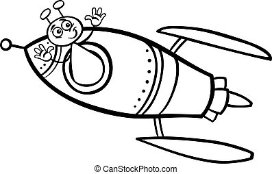 alien in rocket cartoon coloring page - Black and White...