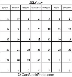CALENDAR PLANNER MONTH JULY 2014 ON TRANSPARENT BACKGROUND