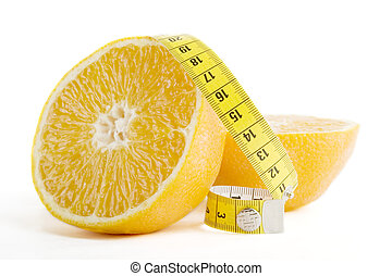 Orange Health - A freshly cut orange with a measuring tape.