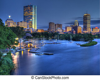 Boston Skyline @ Sunset with Charles River