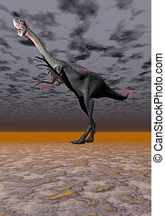 dinosaur gigantoraptor and sky black
