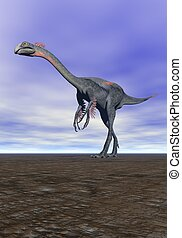 dinosaur gigantoraptor and sky blue