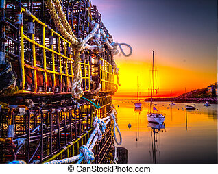 Lobster Traps and Sail Boat Sunrise - Lobster Traps Sail...