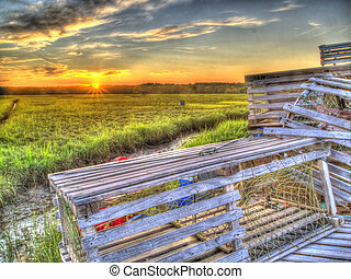 Lobster Traps with Sun Sky