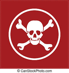white skull on red background