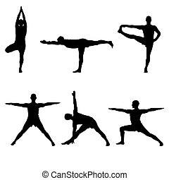six yoga standing poses - A batch of six yoga standing poses...