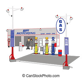 retro gas station with mechanic and lady customer