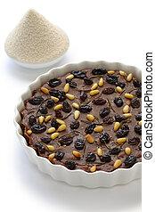 castagnaccio, farina di castagne - italian chestnut cake,...