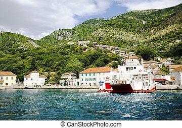 Panoramic view of Boka Kotorska Bay, Montenegro
