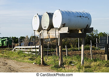 Fuel Tank - Fuel tanks on a prairie farm yard