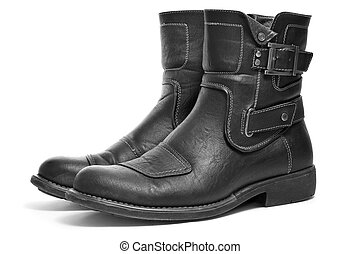 mens boots - a pair of black leather boots for men on a...