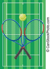 tennis court rackets and ball vector illustration